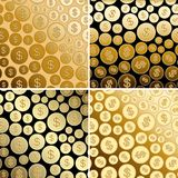 Bright backgrounds with dollars - gold vector coins. Bright backgrounds with dollars - gold vector  coins Stock Photos