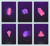 Bright backgrounds with retro futuristic neon space and crystals. Trendy posters of 80s style. vector cards collection. Bright backgrounds with retro futuristic vector illustration