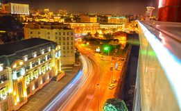 Bright Baku nights . Panoramic view of Baku. Night routes in Baku. Multi-level road junction with heavy car traffic. Night view of. Bright Baku nights Royalty Free Stock Photography