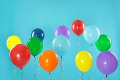 Bright balloons on background. Celebration time stock photography