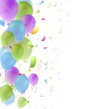 Bright balloons and confetti background. Bright balloons and confetti birthday background. Greeting card vector design Royalty Free Stock Photo