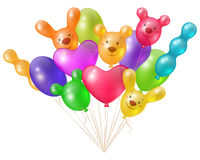 Bright balloons. A festive bunch of bright balloons unusual shaped, festive design elements Royalty Free Stock Images
