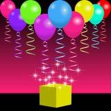 Bright balloons, ribbons and magic gift box with spangles and flashes. Bright balloons, ribbons and gift box with spangles and flashes. Background for holiday Stock Images