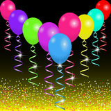 Bright balloons and ribbons on the sparkling background with spangles and flashes. Background for holiday or celebration. Vector illustration EPS10 Stock Photo