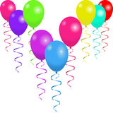 Bright balloons with ribbons  on white background. Flying balloons with ribbons  on white background. Background for holiday, celebration or party. Vector Royalty Free Stock Photography