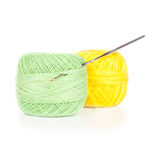 Bright balls of yarn with crochet isolated Stock Images