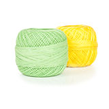 Bright balls of yarn isolated on white Royalty Free Stock Photography