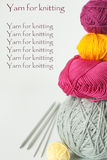 Bright balls of yarn for knitting Stock Photos