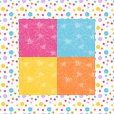 Bright bandana print with flowers on colorful background in dot frame Stock Images