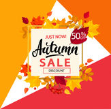 Bright banner for autumn sale in golden frame. Royalty Free Stock Photos