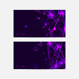Bright banner or card template  in musical theme. Lilac and viol Royalty Free Stock Images