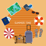 Bright banner, elements of summer holiday plane style. Royalty Free Stock Photos