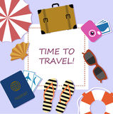 Bright banner, elements of summer holiday plane style. Stock Images