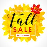 Bright banner for fall sale with text 50% off special offer in frame from yellow maple leaves. Autumn sale background, shop now for promotion poster or flyer Vector Illustration