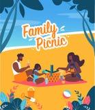 Bright Banner Family Picnic Lettering Cartoon. stock illustration
