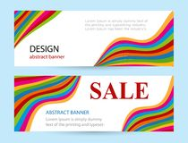 Bright banners with color stripes on white background. Abstract vector horizontal layout with wave color line. Universal template with empty place for text royalty free illustration