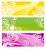 Bright banners with floral elements. Vector illustration stock illustration