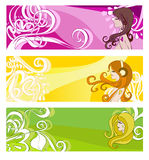 Bright banners with floral elements and women Stock Image