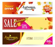 Bright banners on light, orange and yellow backgrounds. Set hori. Zontal Autumn banners. Autumn Sale 50 off. Vector illustrations for flyers, banners, posters Royalty Free Stock Images