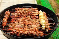 Bright barbecue sticks on mangal Royalty Free Stock Photos