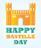 Bright Bastille fortress with text for Bastille day. Bastille fortress with text for Bastille day Stock Photo