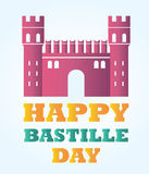 Bright Bastille fortress with text for Bastille day. Bastille fortress with text for Bastille day Stock Photography