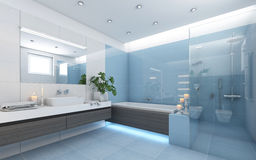 Bright Bathroom In Blue Royalty Free Stock Photo