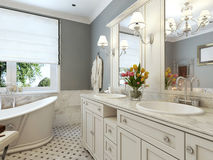 Bright bathroom classic design Royalty Free Stock Photography