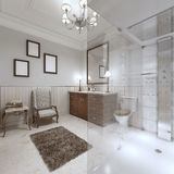 Bright bathroom in the English style with large glass shower. Royalty Free Stock Photography