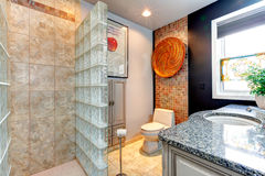 Bright bathroom with open shower Royalty Free Stock Photos