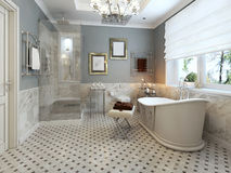 Bright Bathroom Provence. 3d render Royalty Free Stock Photography