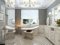 Bright Bathroom Provence. 3d render Stock Images