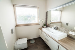 Bright bathroom with sink and wc Royalty Free Stock Photos
