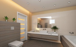 Bright Bathroom With Wood Stock Photography