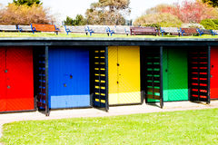 Bright beach huts Royalty Free Stock Photos