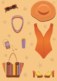 Bright beach set for woman. Stock Photo