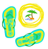 Bright beach shoes.Summer background Stock Photos