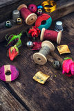 Bright beads and thread for needlework stock photo