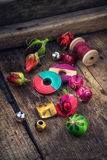 Bright beads and thread for needlework royalty free stock images