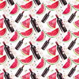 Bright beautiful abstract graphic lovely cute delicious tasty summer picnic set includes bottle of red wine, slices of watermelon, Stock Images