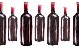 Bright beautiful abstract graphic lovely wonderful cute delicious tasty yummy summer  bottles of red wine pattern watercolor Royalty Free Stock Image