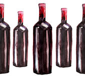 Bright beautiful abstract graphic lovely wonderful cute delicious tasty yummy summer  bottles of red wine pattern watercolor Stock Image