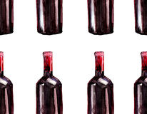 Bright beautiful abstract graphic lovely wonderful cute delicious tasty yummy summer  bottles of red wine pattern Stock Image