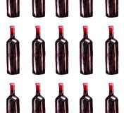 Bright beautiful abstract graphic lovely wonderful cute delicious tasty yummy summer  bottles of red wine pattern watercolor Stock Photography