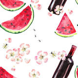 Bright beautiful abstract graphic lovely wonderful cute delicious tasty yummy summer picnic set includes bottle of red wine, slice Stock Images