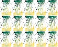 Bright beautiful artistic abstract yellow green blots and streaks pattern watercolor. Hand sketch Stock Photos