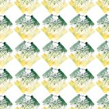Bright beautiful artistic abstract yellow green blots and streaks placed diagonally pattern watercolor. Hand illustration Stock Photo