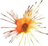Bright beautiful artistic abstract yellow orange cadmium blot watercolor. Hand sketch Royalty Free Stock Image