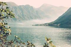 Bright beautiful atmospheric landscape, lake in the mountains, Kotor Strait, Montenegro royalty free stock photos