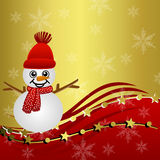 Bright beautiful christmas background with a snow man Royalty Free Stock Photos